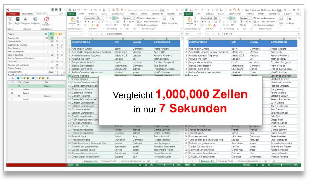 Synkronizer Excel Tabellen vergleichen: Excel Tabellen vergleichen ...